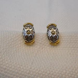 Brighton Silver Tone ad Brass Oval Stud Earrings